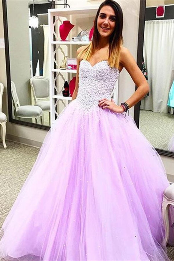 Pretty Sweetheart Beading Ball Gown Handmade Lace Up Prom Dresses PFP1076