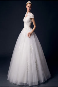 Modest Back Up Lace High Neck Ball Gown Wedding Dresses PFW0294
