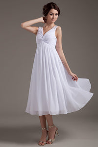 Simple White Chiffon V-neck Open Back Beach Wedding Dresses PFW0296