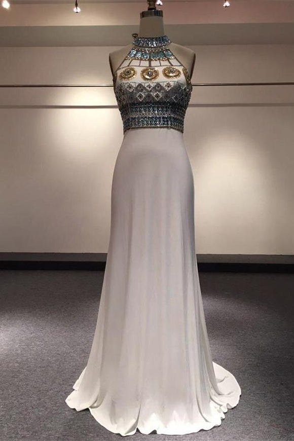 White Halter Beaded Two Pieces Long Mermaid Prom Dresses PFP1081