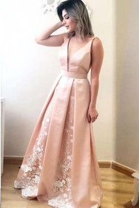 Elegant A Line Deep V Neck Long Satin Formal Evening Prom Dress With Lace PFP0044