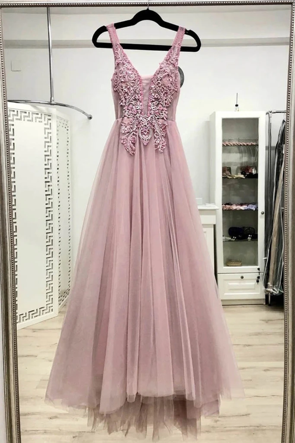 Promfast Pink V Neck Tulle Lace Appliques Long Prom Dresses Evening Dress PFP1872