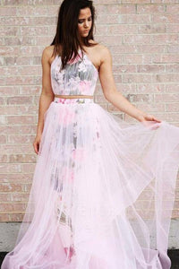 A Line Halter Sleeveless Floor Length Floral Pink Prom Dresses