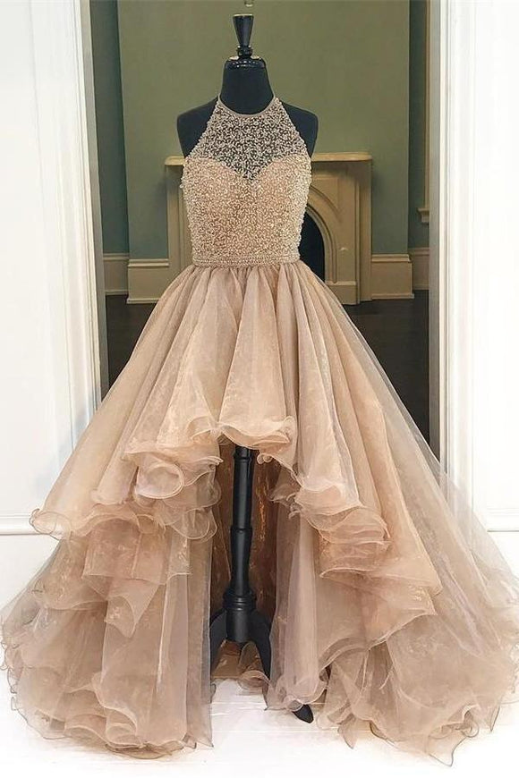 Short Front Long Back Halter Beading Open Back Prom Dresses PFP1082