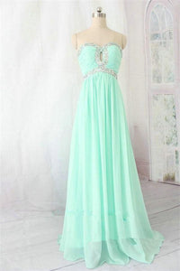 Mint Chiffon Long Sweetheart Beading High Low Prom Dresses PFP1083