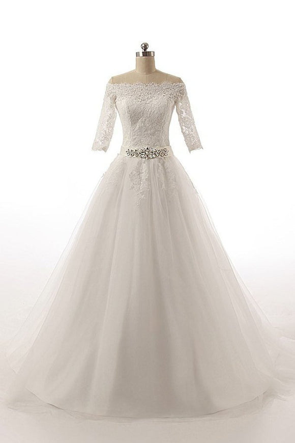 Half Sleeves Long Ball Gowns Bodice Lace Wedding Dresses PFW0299