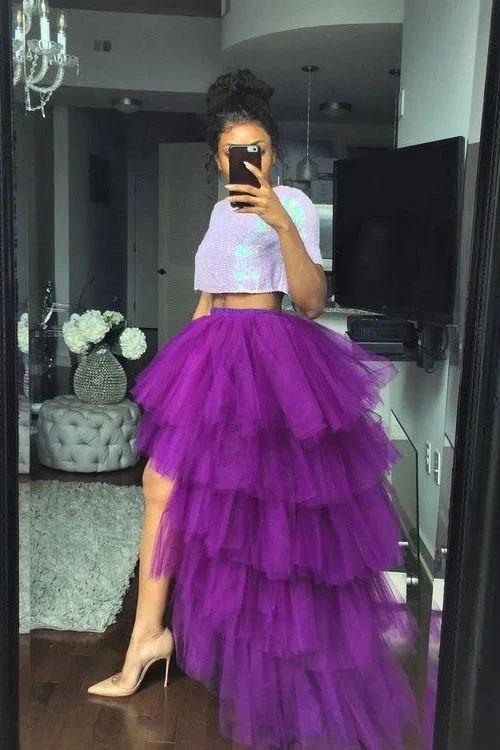 Promfast Two Pieces Purple Ruffles Short Sleeves Prom Dresses Evening Dress PFP1873