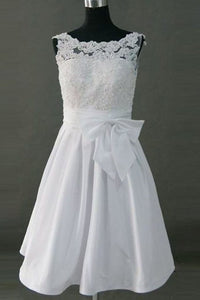 Pretty Simple Cheap Short Lace Wedding Dresses With Bow Belt PFW0301