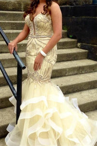 Beige Mermaid Beaded Strapless Long Pretty Prom Dresses For Teens PFP1087
