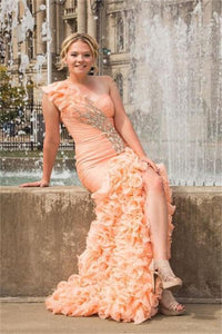 Pink One Shoulder Lace Up Front Split Long Beading Prom Dresses PFP1089