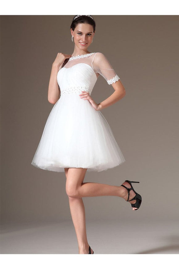 Elegant White Short Sleeves Lace Beading Beach Wedding Dresses PFW0303