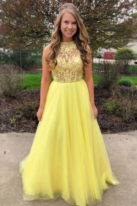 Promfast Yellow A Line Tulle Lace Top Long Sleeveless Prom Dresses Evening Dress PFP1874