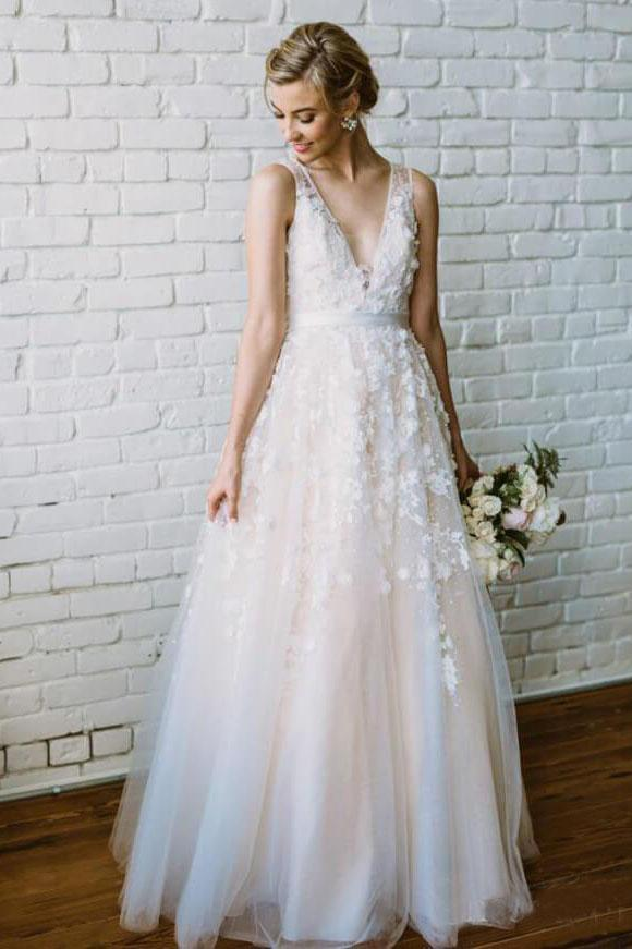 Simple Lace Applique A Line V Neck Tulle Beach Wedding Dress PFW0015