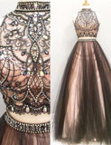 Lovely Two Pieces Colorful Beading A-line Long Handmade Prom Dresses PFP1092