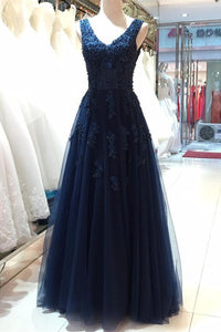 V-neck Navy Blue Lace Tulle Beading Long Backless Prom Dresses PFP1095
