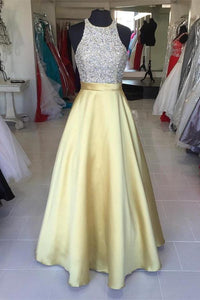 Yellow Satin Long Halter Beading Simple Cheap Prom Dresses PFP1097