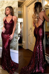 Charming Spaghetti Strap V-neck Burgundy Sequins Long Sexy Mermaid Prom Dresses PFP0203