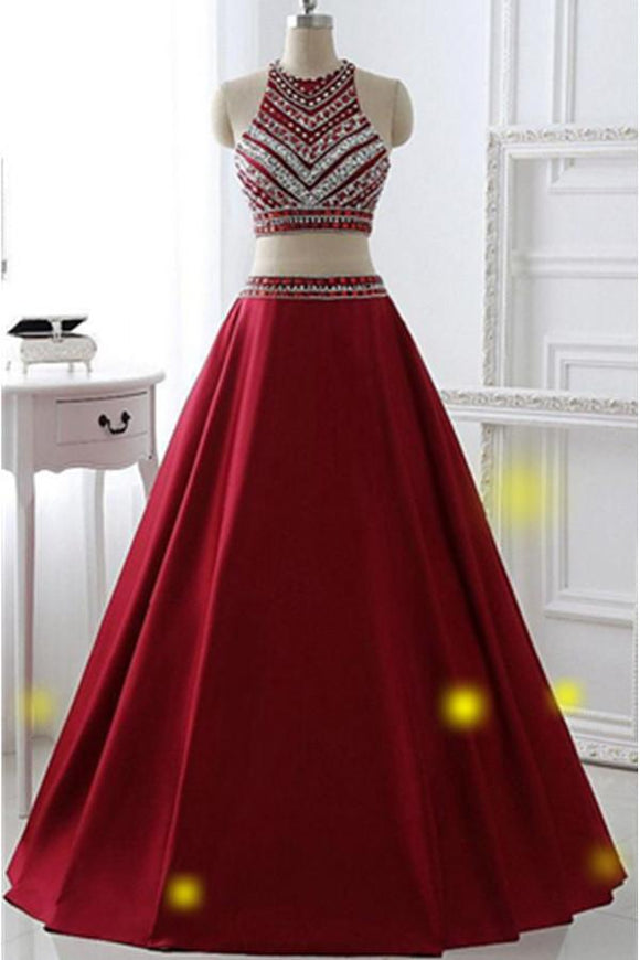 Two Pieces Burgundy Long A-line Satin Beaded Pretty Prom Dresses PFP1099