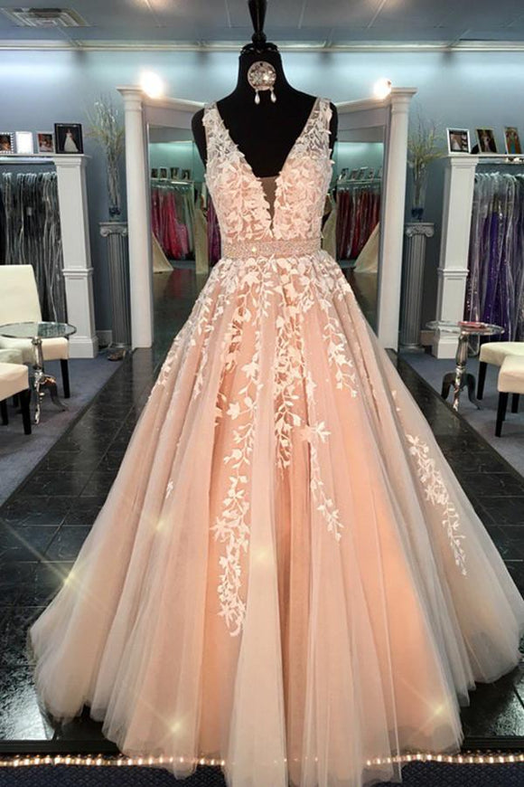 Ball Gown Lace Tulle V-neck Long A-line Quinceanera Dresses Prom Dresses PFP1100