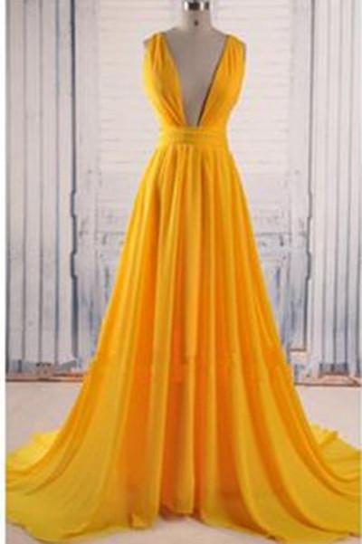 Yellow A Line V Neck Criss Cross Back Chiffon Long Prom Dress PFP0204