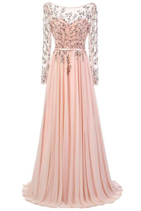 Long Sleeves Lace Pink Chiffon A-line Beading Open Back Prom Dresses PFP1102