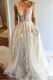 Off White Long A Line V Neck Tulle Prom Dresses With Pockets PFP0207