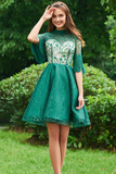 Elegant Lace High Neck Beading Half Sleeves Tassel Short Homecoming Dresses PFH0016