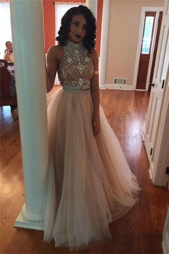 Pretty Two Pieces Tulle High Neck Tulle Long Charming Prom Dresses PFP1108