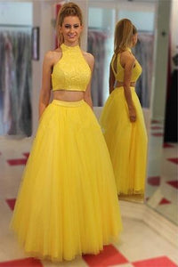 Yellow Two Pieces High Neckline Tulle Cheap Long Prom Dresses PFP1109