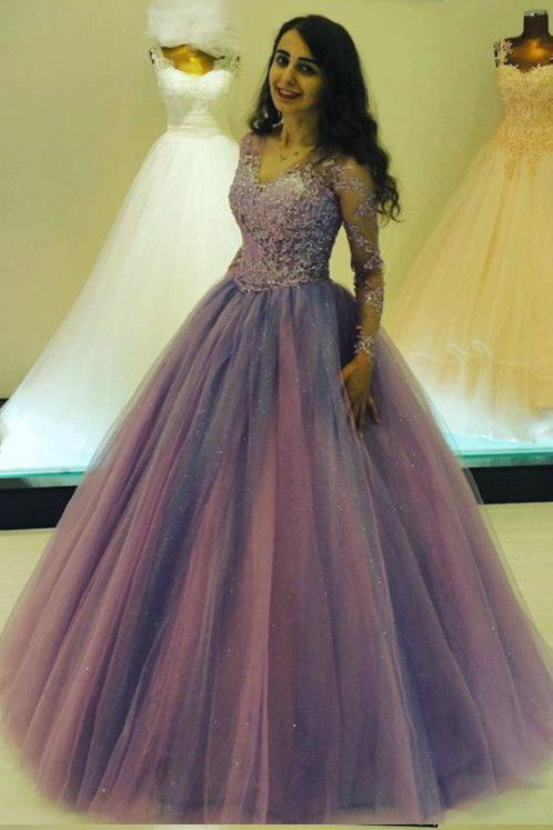 Princess Long V Neck Appliques Ball Gown Prom Dress With Long Sleeves PFP0212