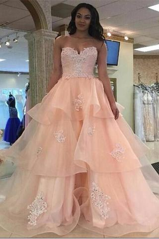 Pink Strapless Backless Lace Organza Long Qunceanera Dresses Prom Dresses PFP1110