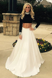 Black And White Two Pieces A-line Long Sleeves Prom Dresses PFP1113
