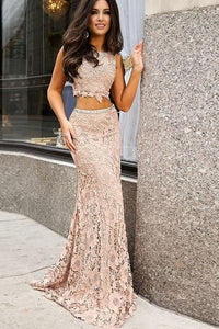 Two Piece Mermaid Lace Sweep Train Sleeveless Prom Dress,Long Party Dress PFP0215
