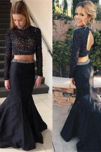 Black Beaded Long Sleeves Two Pieces Mermaid Backless Prom Dresses PFP1115
