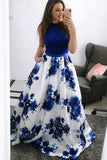 Fashion A-Line Jewel Blue Floral Long Prom Dress with Pockets