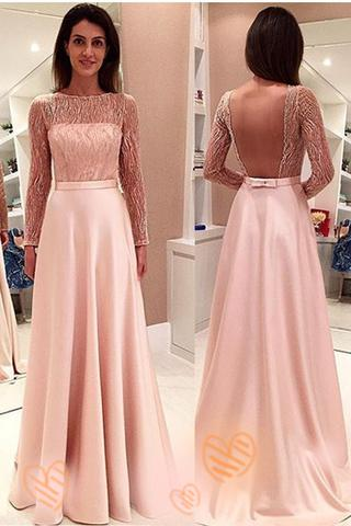 Pink Long Sleeves Backless Girly Cute Simple Cheap Prom Dresses PFP1116