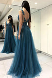 Blue See Through Split Backless Lace Appliques Tulle Long Prom Dress with Beading PFP0216