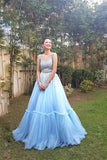 Sky Blue A Line Tulle V Neck Long Prom Gown,Sweet 16 Dress PFP0218