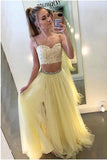 Sexy Two Pieces Yellow Tulle Straps A Line Long Prom Dress With Lace PFP0219