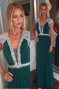 Beaded Dark Green Long V-neck High Low Chiffon Backless Prom Dresses PFP1122