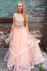 Two Piece Long Beading Long Tulle Prom Dress,A Line Evening Dresses PFP0221