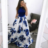 Fashion A-Line Jewel Blue Floral Long Prom Dress with Pockets PFP0513