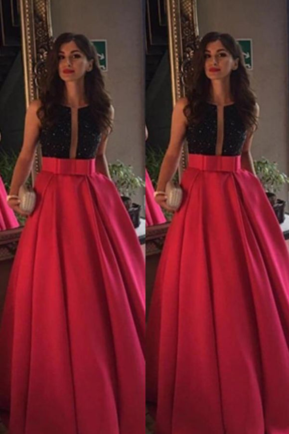 Modest Red Beading Long A-line Satin Prom Dresses Evening Dresses Party Dresses PFP1128
