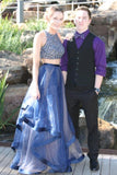 Elegant Two Pieces A-Line Blue Organza Long Prom Dresses With Beads PFP0222