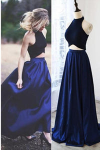 Two Pieces Royal Blue A-line Long Simple Halter Open Back Prom Dresses PFP1130