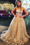 Strapless Sweep Train A Line Long Prom Dress With Floral Appliques PFP0225