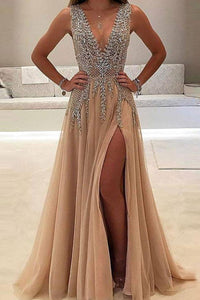 A-line V-neck Tulle Sexy Shinny Rhinestone Long Prom Dress With Slit PFP0226
