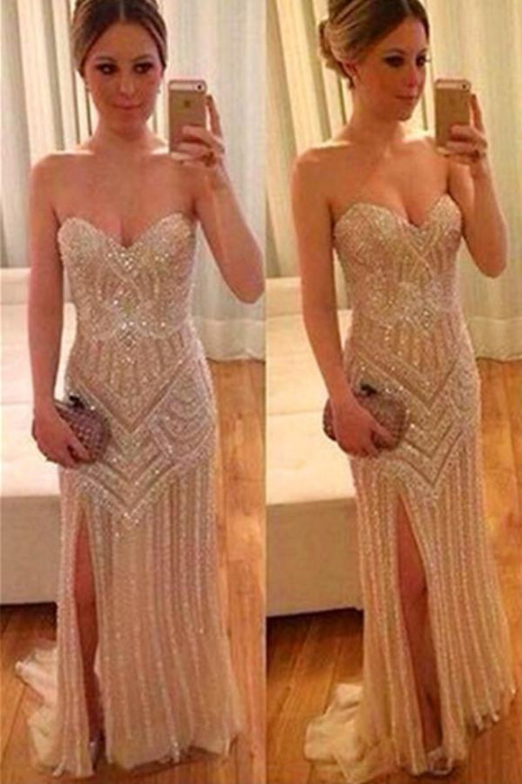 Real Beautiful Long Front Split Sweetheart Handmade Backless Prom Dresses PFP1132
