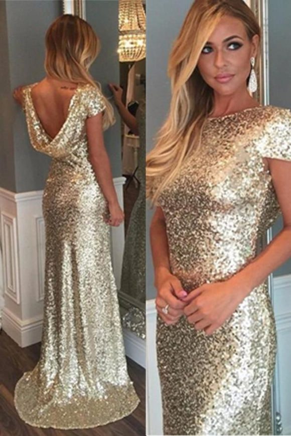 Open Back Handmade Long Mermaid Cap Sleeves Elegant Prom Dresses PFP1133
