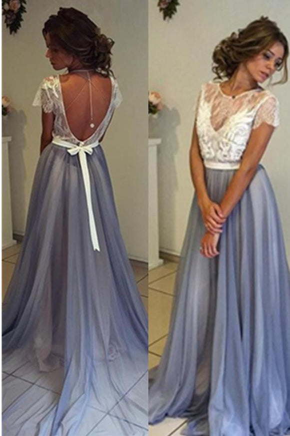 A-line Long Blue Open Back Lace Tulle Simple Cheap Beautiful Prom Dresses PFP1135